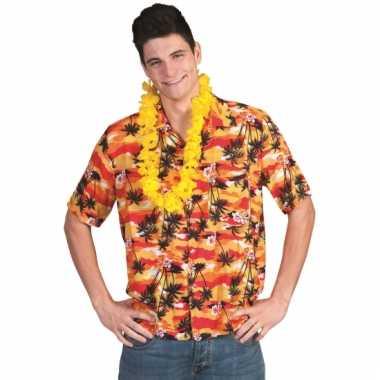 Rood met oranje hawaii blouse