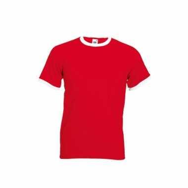 Rood ringer t-shirt met witte contrast kleur