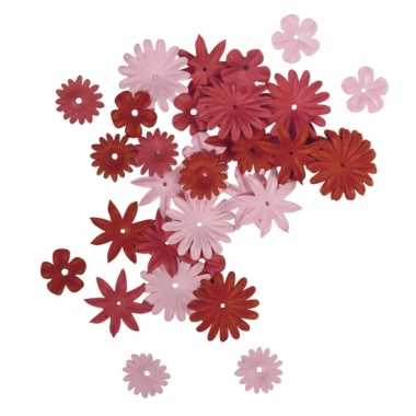 Rood/roze knutsel bloemen van papier 36 stuks
