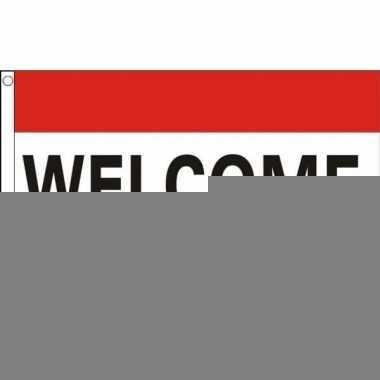 Rood wit blauwe vlag welkom 90 x 150 cm