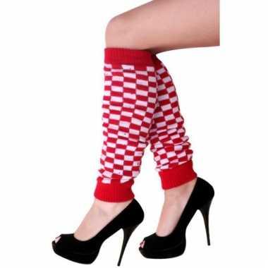 Rood/wit geblokte beenwarmers voor dames