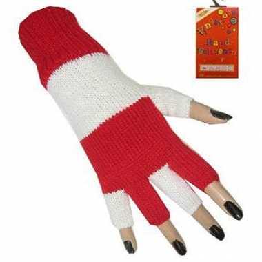 Rood wit handschoen zonder vingers