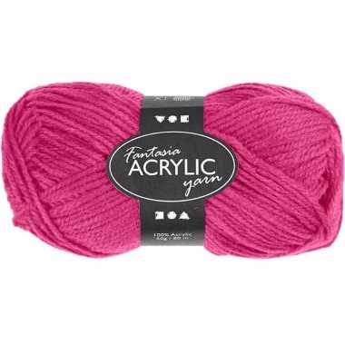 Roze acryl 3-draads garen 80 meter