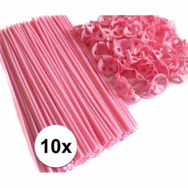Roze ballonnenstaafjes/ballonnenstokjes 10 stuks