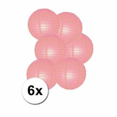 Roze bol lampionnen 25 cm 6 stuks