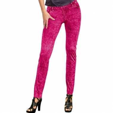 Roze dames legging spijkerlook