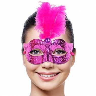 Roze dames masker met veer