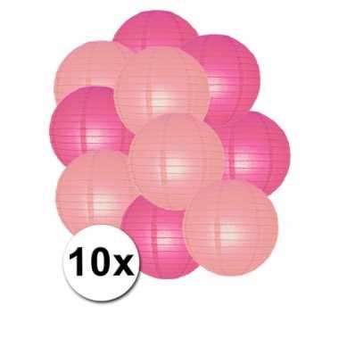 Roze en lichtroze feest lampionnen 10x