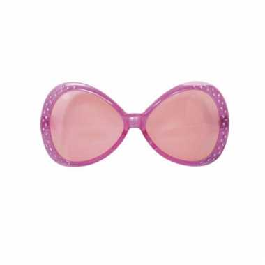 Roze feest bril met diamantjes