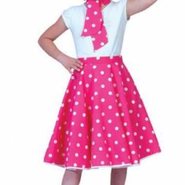 Roze fifties rok voor meiden