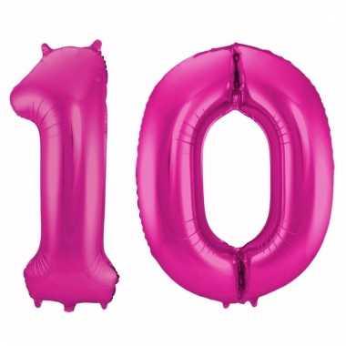 Roze folie ballonnen 10 jaar
