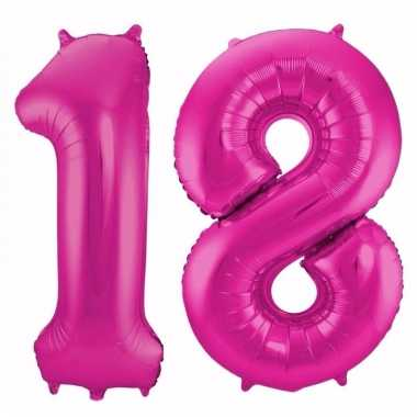 Roze folie ballonnen 18 jaar