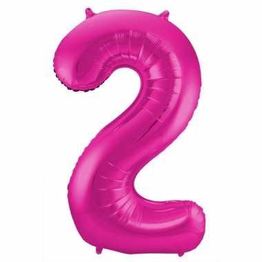 Roze folie ballonnen 2 jaar