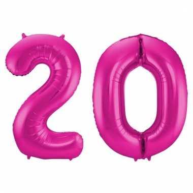 Roze folie ballonnen 20 jaar