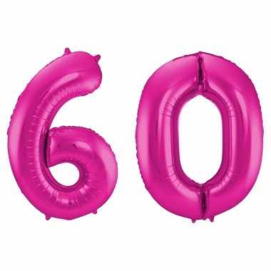 Roze folie ballonnen 60 jaar