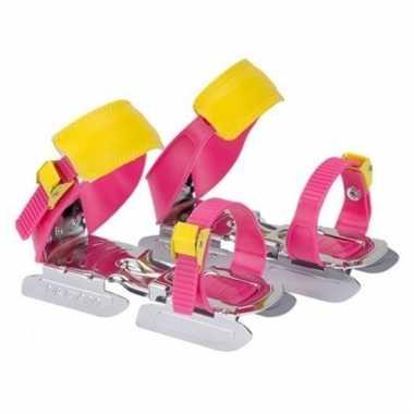 Roze/geel kinder schaatsen verstelbaar