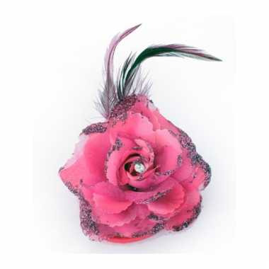 Roze glitterbloem met elastiek en speld