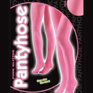 Roze glitterende panty voor dames