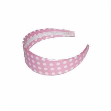 Roze haarband met stippen