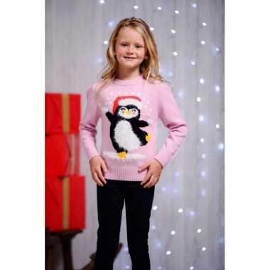Roze kerstmis trui met pinguin voor kids