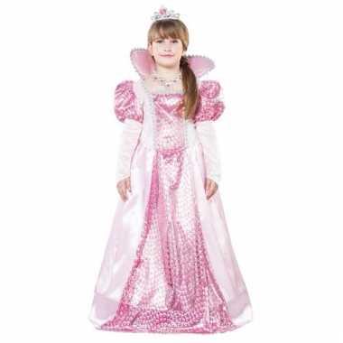 Roze koninginnen verkleedjurk met kroon voor meisjes