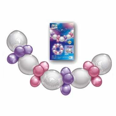 Roze met paarse ballonnen guirlande