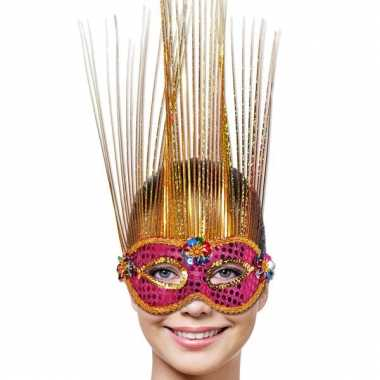 Roze oogmasker met bloem