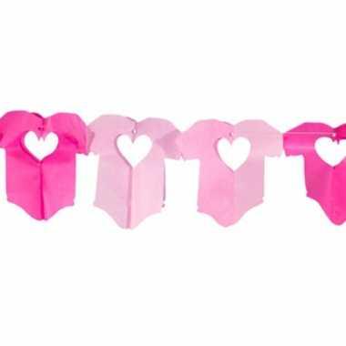 Roze papieren baby girl slinger