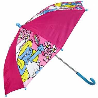 Roze paraplu smurfin 65 cm