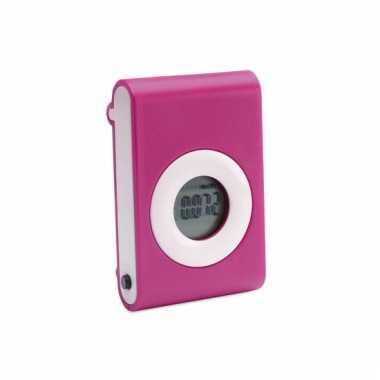 Roze pedometer met broekriem clip