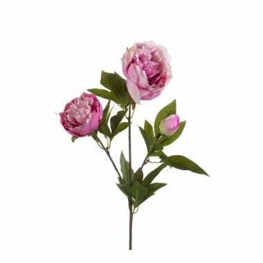 Roze pioenroos kunstbloem 70 cm