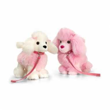 Roze poedel knuffel staand 30cm