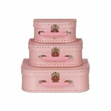 Roze speelgoedkoffer 25 cm