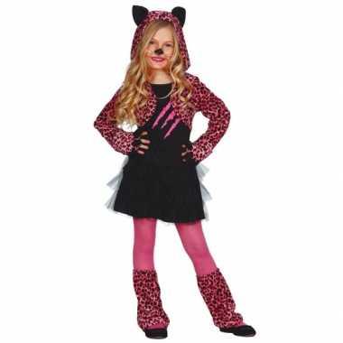 Roze tijgerprint kostuum voor meisjes