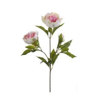 Roze/wit pioenroos kunstbloem 70 cm