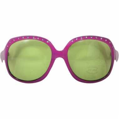 Roze zonnebril groot met groene glazen