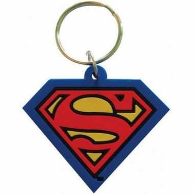 Rubberen sleutelhanger met ijzeren ring superman
