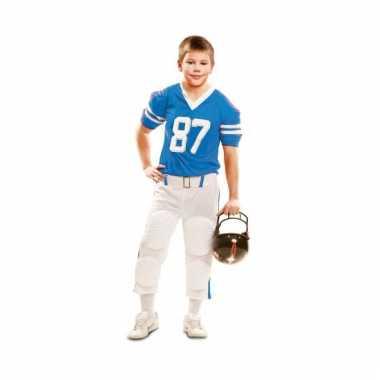 Rugby speler pak wit/blauw voor kids