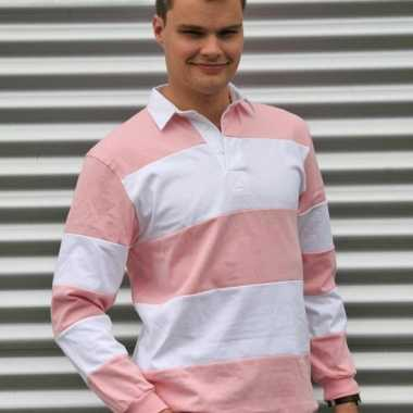 Rugbyshirts in het roze met wit