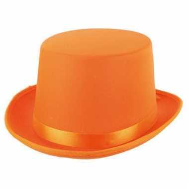 Satijn look hoge hoed oranje