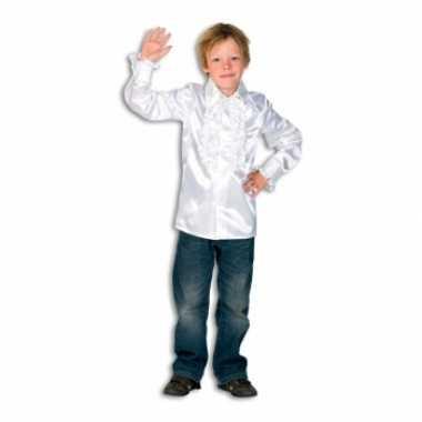 Satijnen blouse wit voor jongens