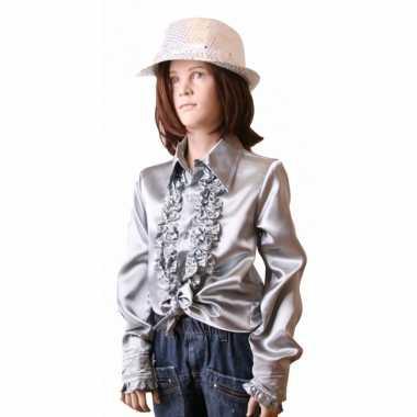 Satijnen blouse zilver meisjes