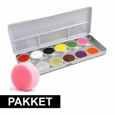 Schmink set met 12 kleuren met spons