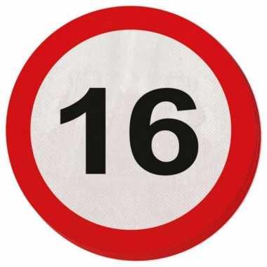 Servetjes 16 jaar verkeersbord