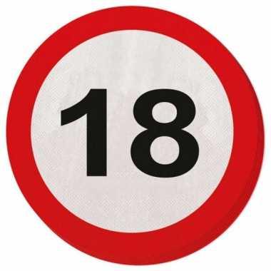 Servetjes 18 jaar verkeersbord