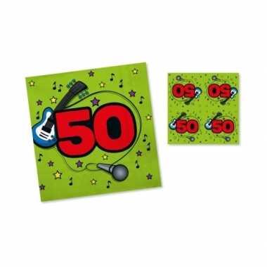 Servetten 50 jaar 33 cm groen