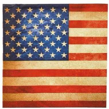 Servetten amerikaanse vlag 20 stuks
