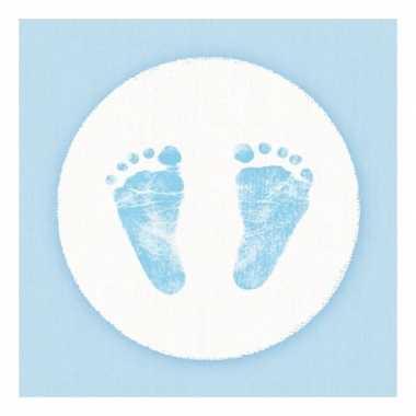 Servetten babyshower thema blauw/wit 3-laags 20 stuks