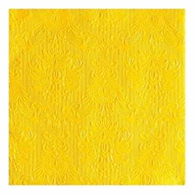Servetten gele barok 3-laags 15 stuks