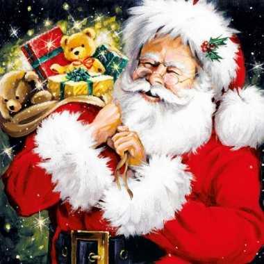 Servetten met kerstman print 33x33 cm